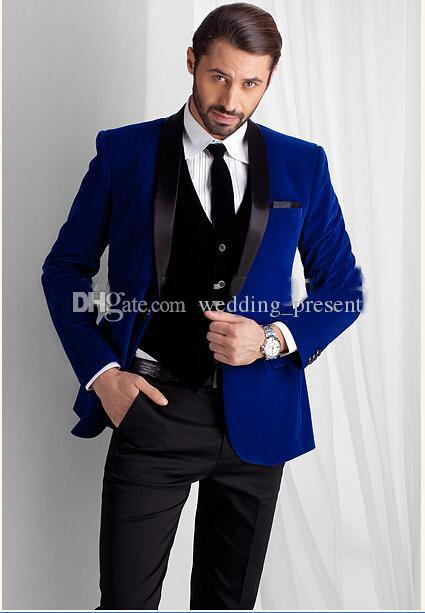 New Trends Royal Blue Velvet Slim Fit 2017 Groom Tuxedos Wedding ...