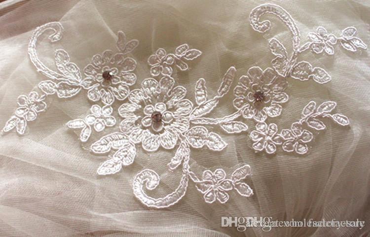 Lindo apliques lace cotovelo comprimento com pente acessórios nupciais véu de casamento CPA398 branco véu de marfim frete grátis