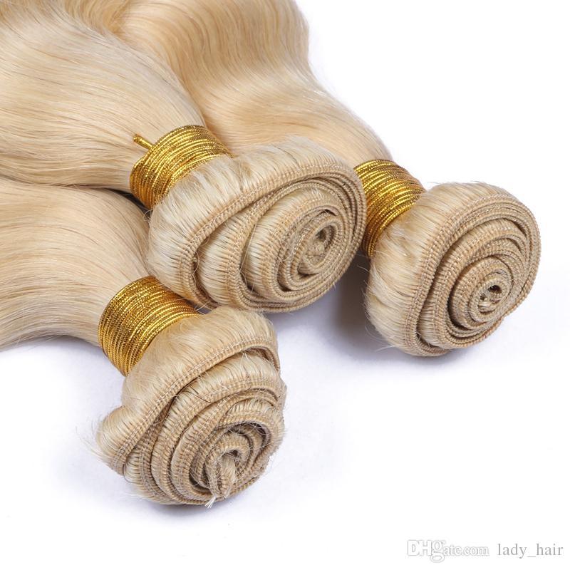 저렴한 페루 버진 금발의 인간의 머리카락 확장 9A 학년 # 613 플래티넘 금발의 바디 웨이브 처녀 페루 인간의 머리카락 번들 번들 3 개 로트