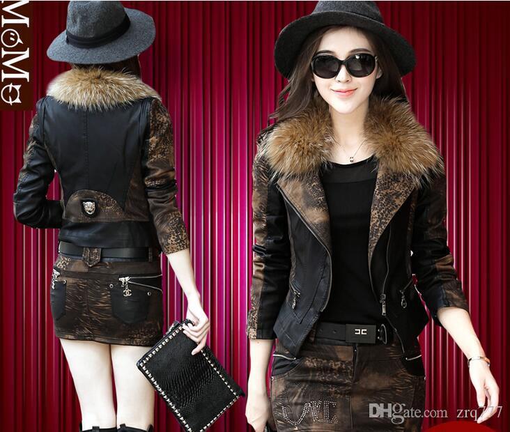 Новое тонкое пальто енот меховой воротник пальто женский короткий пункт корейский приливные осень и зима замша леопард толстая кожаная куртка 2066