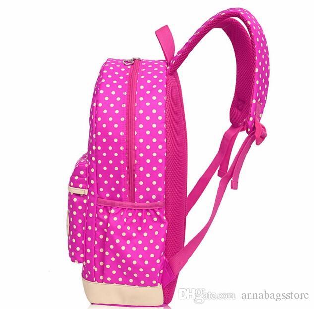 Hot Sale Cute Bow Wave Point Girl School Bags for Teenagers Backpack Set Women Shoulder Travel Bags Rucksack Mochila Knapsack