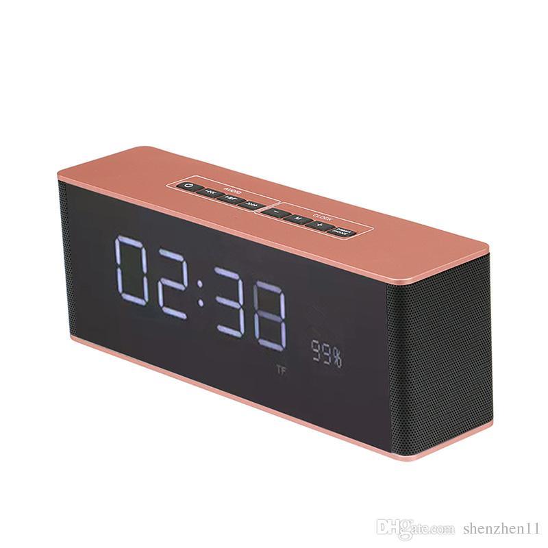 LP-06 Portable Bluetooth & Clock Speaker Receiver Multifunctional Super Bass Wireless Speakers Support TF FM Alarm Clock DHL free MIS511