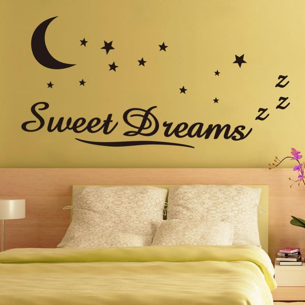 Sweet Dreams Moon Stars Quote Wall Sticker For Bedroom Removable ...