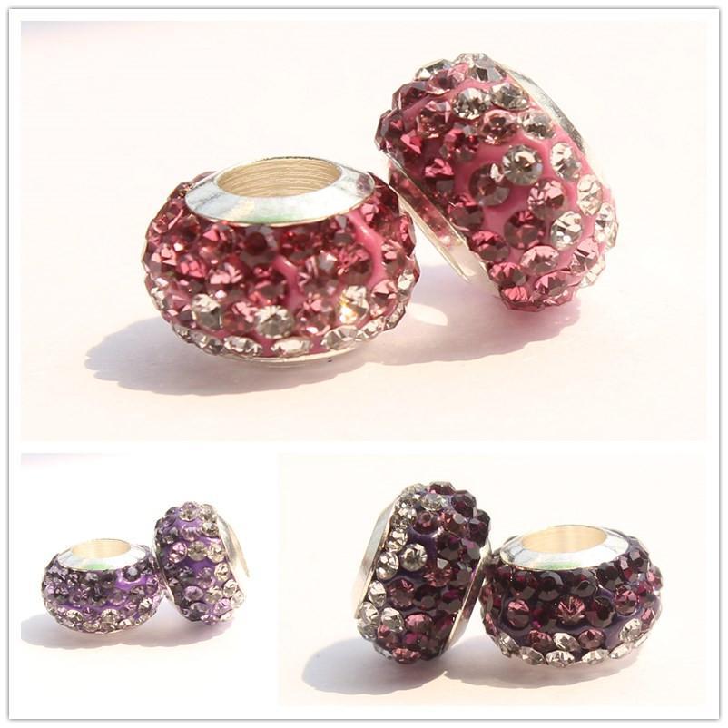 Perles en pâte polymère dégradé gros trou avec perles de charmes de diamant pour bricolage pandora Bracelets 7 couleurs disponibles bijoux