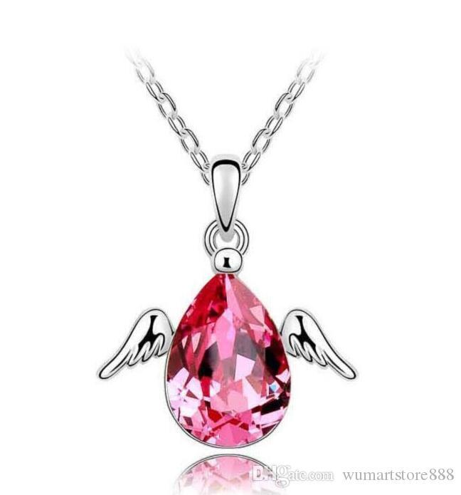 Joyería de moda de Alta calidad cristalino austríaco CZ Diamantes colgante, collar de la mosca del ángel del desgarro de lágrima de agua collar de la joyería de las mujeres