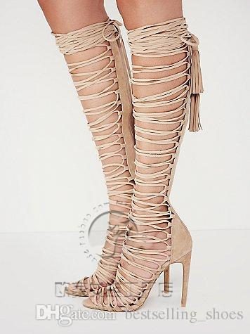 ab1d98060aa8 Sexy Thigh HIgh Boots Over Knee Strappy Cutouts High Heels Women Sandals  Gladiator Shoes Woman Lace Up Summer Women Shoes Pumps Heels Gladiator  Sandals From ...