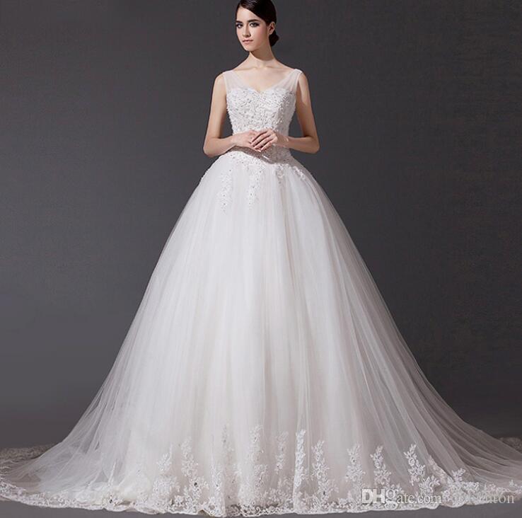 Vestido de novia Vestidos de novia Cristal de lujo Vestidos de novia Beads espagueti escarpado Vestido de novia Cristales Backless piso longitud Tulle BD019