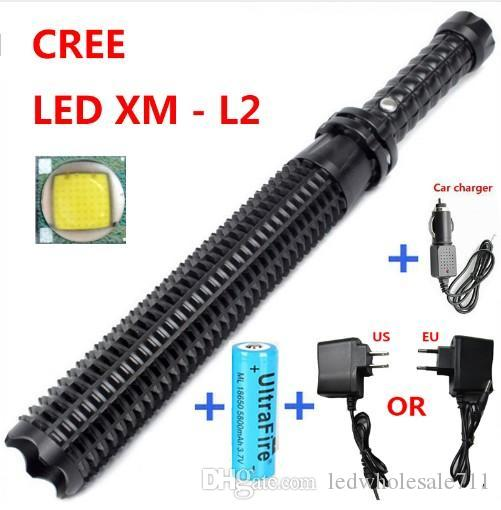 2016 New Arrival Powerful led flashlight 18650 CREE XM L2 self defense Patrol LED rechargeable flash light