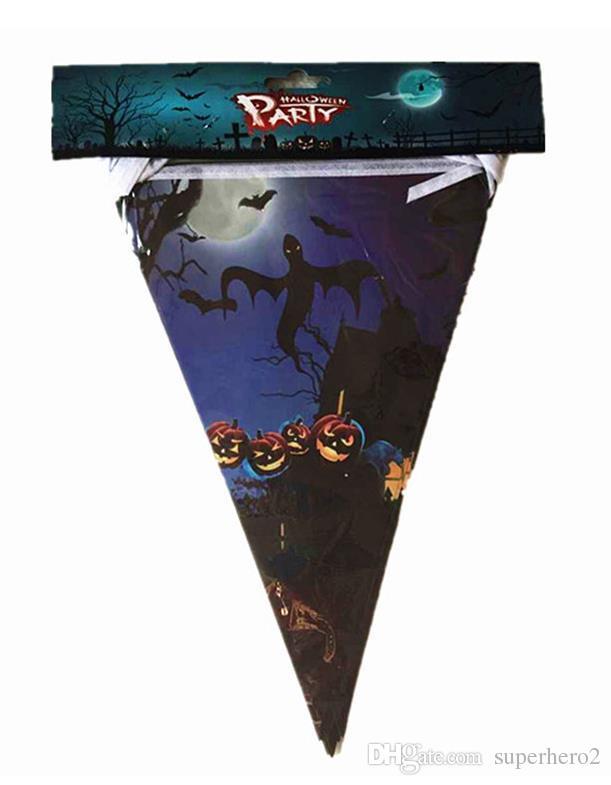 Halloween decorazione carta triangolo bandiera stendardo striscione carnevale ghirlanda cranio pipistrello fantasma ragno scary clubing del negozio della barra del partito decorazione di festa