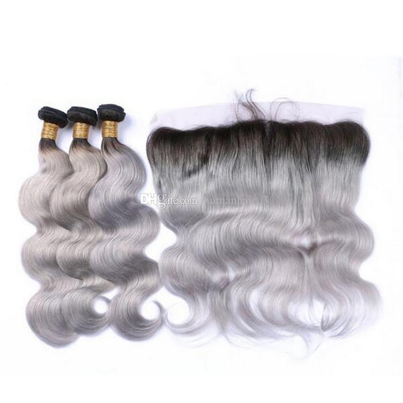 인도 버진 인간의 머리카락 엮어 냄 뭉툭한 회색 머리는 13 * 4 레이스 정면 은색으로 엮어 낸다.