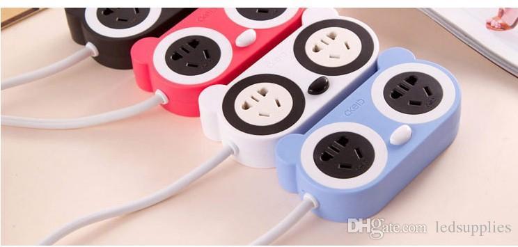 Çok fonksiyonlu sevimli karikatür güç soketi güvenlik şarj şeridi akıllı yaratıcı USB anahtarı pabucu plaka