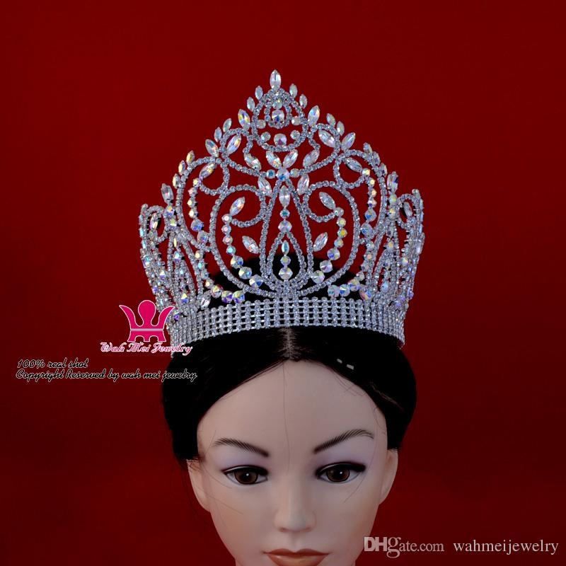 Grande Shining Pageant Crown Tiara Miss Beauty Queen Princess Hairwear Accessori gioielli Party Prom Night Clup Show copricapo 02164