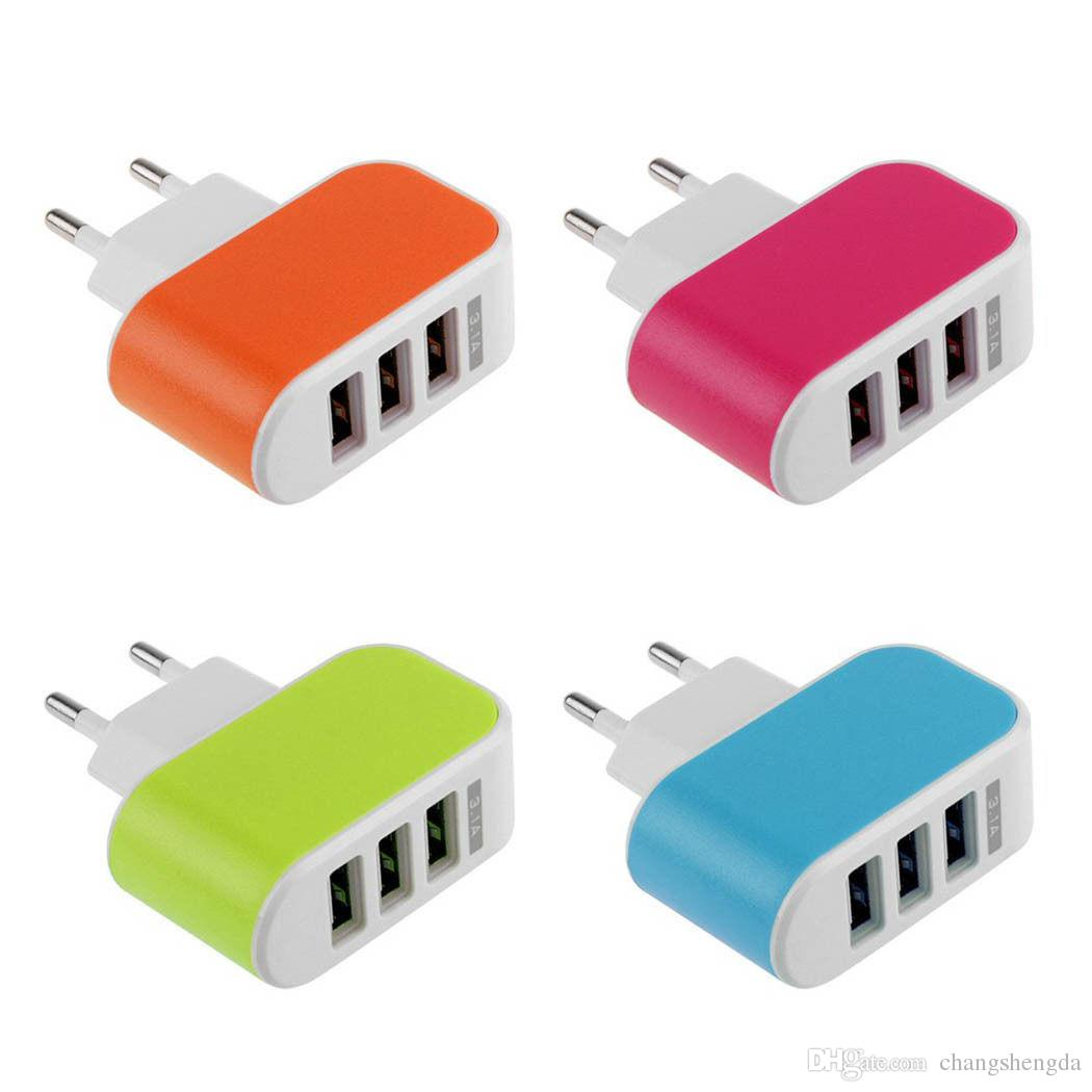 Glow 3 holes on the USB charging head phone charger tablet smart phones more than general travel plug
