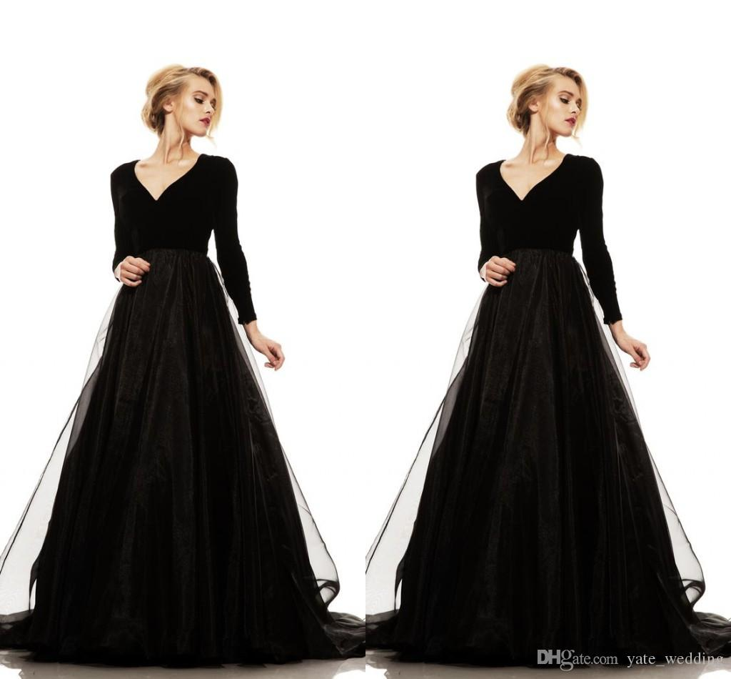 Simple Black Long Sleeves Evening Dresses V Neck Spandex Tulle ...