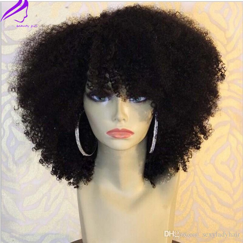 New Afro Kinky Curly Lace Front Wigs Short Bob Black