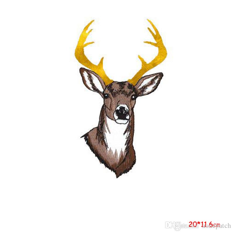 Rein Deer Iron On Patch Embroidered Appliques Animal Xmas Safari Zoo Crafts Stickers Apparel Accessories Badge Patches