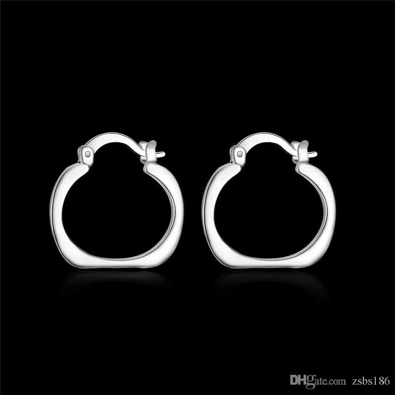 925 silver hoop earrings square fashion jewelry for women diameter 2.0cm personality cool party style Europe Hot