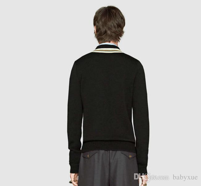 Winter warm men 's cashmere sweater bee embroidery pattern long - sleeved shirt high - quality jacket sweater coat