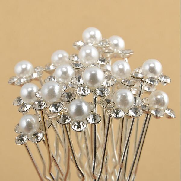 cheap Wedding Accessories Bridal Pearl Hairpins Flower Crystal Rhinestone Hair Pins Clips Bridesmaid Women Hair Jewelry