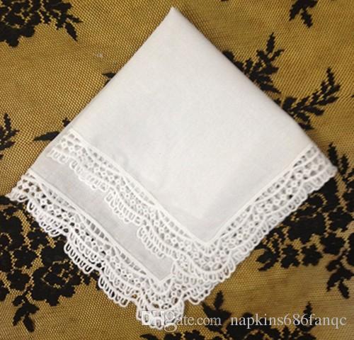 Estilo alemán encaje Trim.drop envío / .white 100% algodón Damas boda pañuelo es un gran regalo para las fiestas nupciales