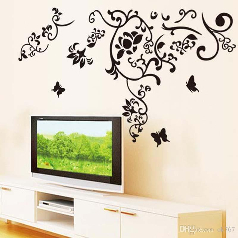 무료 배송 TV 벽면 배경 낭만주의 세련된 분리형 아트 버터 플라이 포도 나무 꽃 벽 스티커