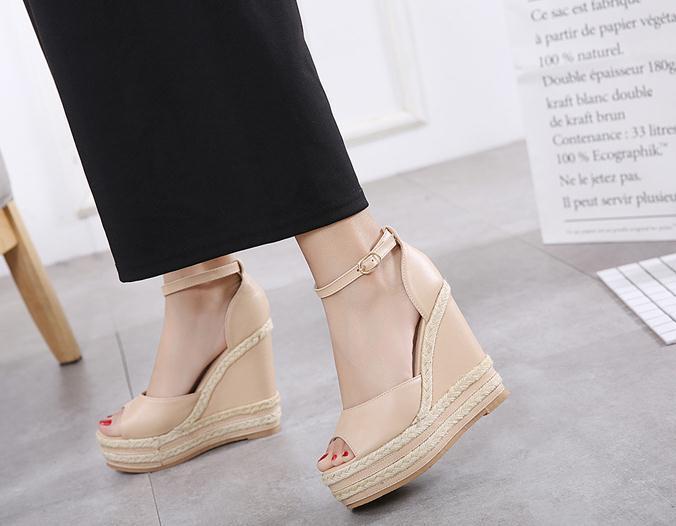 2012 Chic Lato Beżowy kolor słomy tkane klinowe platformy sandałowe obcasy różowy biały czarny beżowy 2018 rozmiar 34 do 40