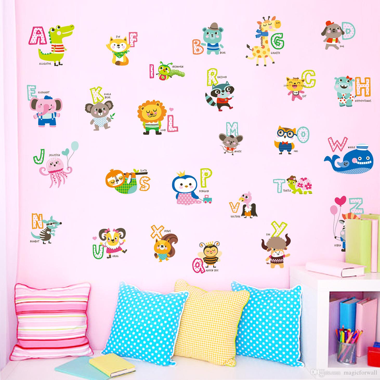 Cartoon Animals Alphabet English Letters Wall Stickers Kids Boys Girls  Nursery Early Education Wall Applique Wall Sticker Deals Wall Sticker Decor  From ... Part 57
