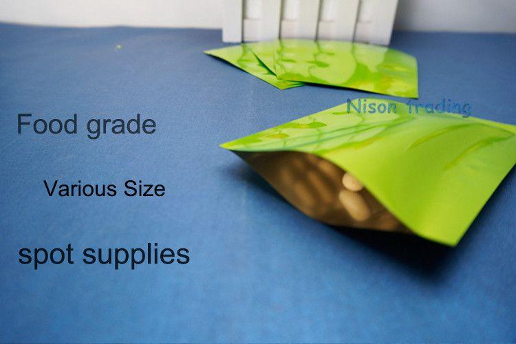 / 6x9cm feuille d'aluminium verte en plastique sac plat-chaleur scellable noix de coco / cocao emballage sac de nourriture, sac de plaine de lait en poudre