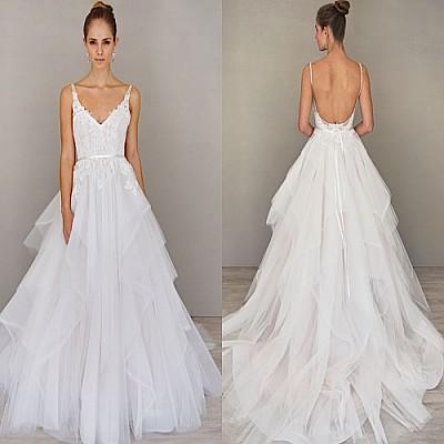 Discount Spaghetti Straps A Line Wedding Dresses Backless Sweep ...