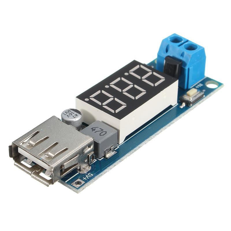 Freeshipping 5pcs\Lot 5.7 x 2 x 1cm DC-DC 4.5-40V Step-down LED Voltmeter USB Buck Voltage Converter Module 5V/2A Electric Board 5.7x 2x1cm