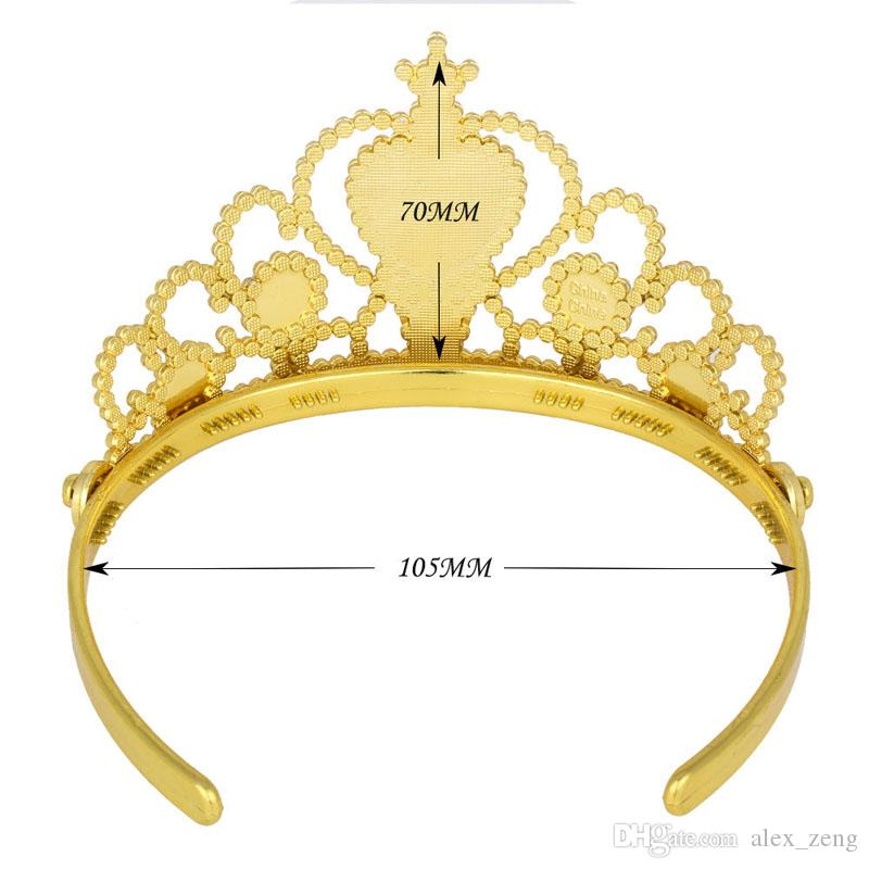 Girls Princess Gold Color Cosplay Accessories Children Diamond Crown Tiaras+Magic sets Wands Kids Christmas Party Gift