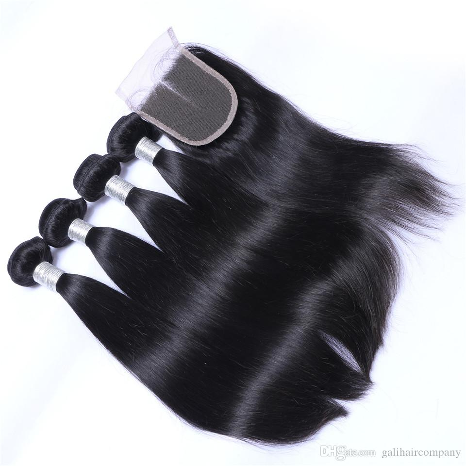 Cool 8A Qualit Peruvian Straight Hair with one 4*4 Lace closure No Shedding Free Tangle Full And Thick Fee DHL