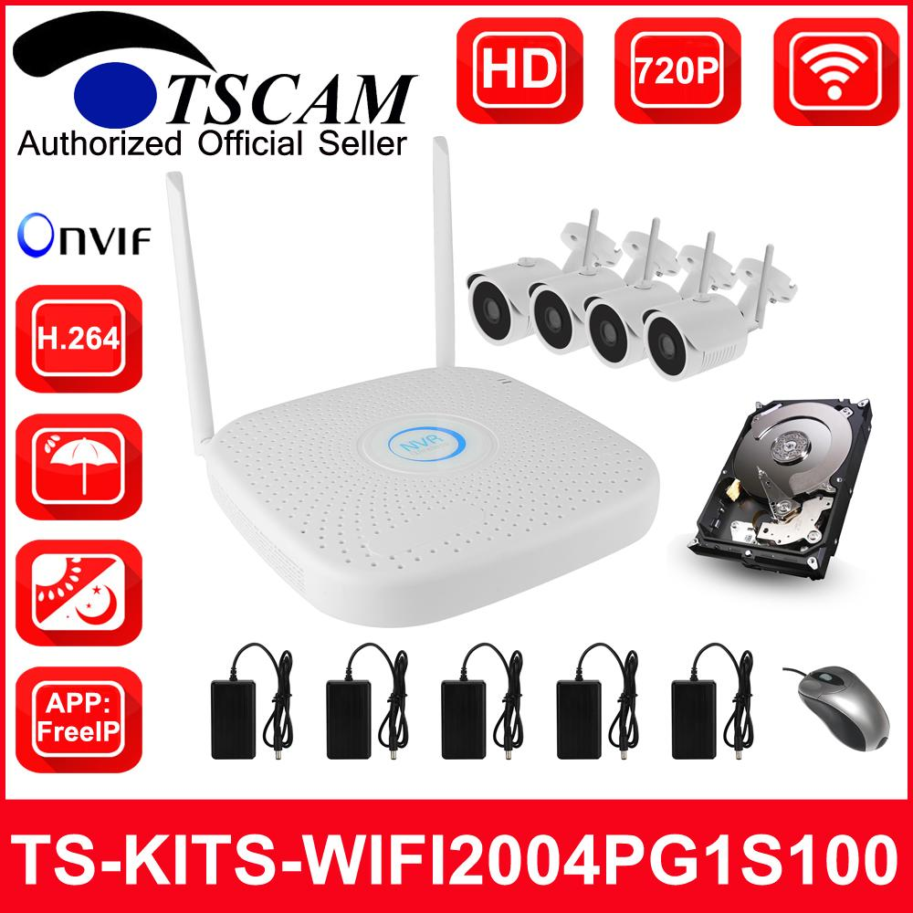 TSCAM new CCTV 4CH 720P HD Wireless WIFI NVR kits Bullet IP Camera Security  System Video Surveillance ONVIF P2P H 264