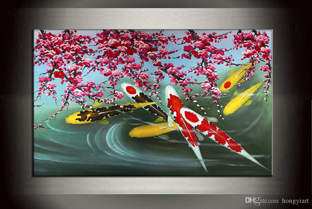 Feng Shui Koi Fish Fish Art Painting Wall Art Abstract Canvas 100% Handmade Oil Painting Cherry Blossom Contemporary Home for living Decor