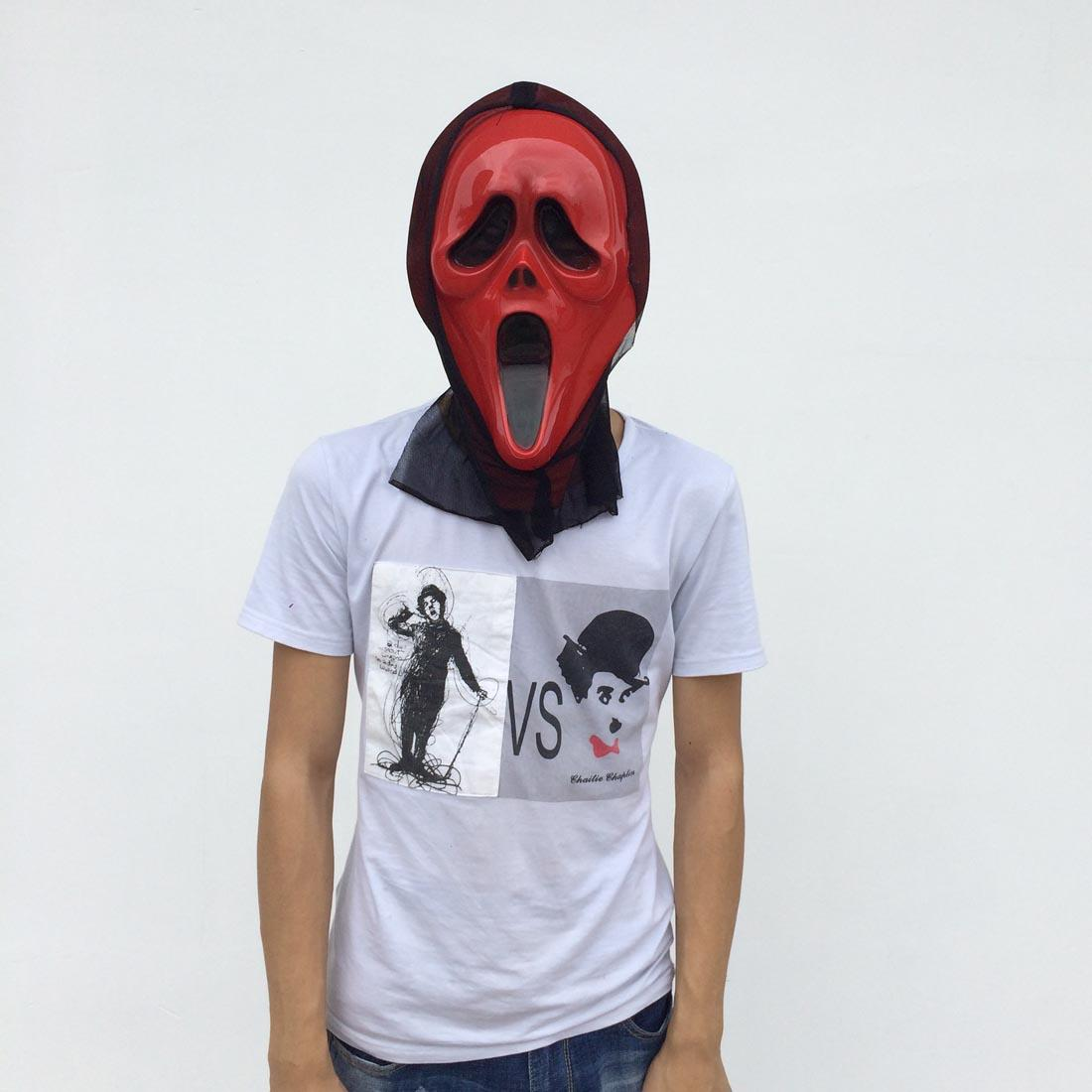On Sale Red Ghost Mask with Black Glauze Full Face Halloween Party Mask Scary Devil Costume red color