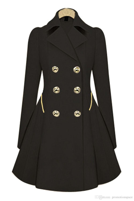 2017 Fashion Lady Slim Fit donna lana doppio petto trench caldo cappotto giacca donna cappotto medio-lungo cappotto di lana FS0640