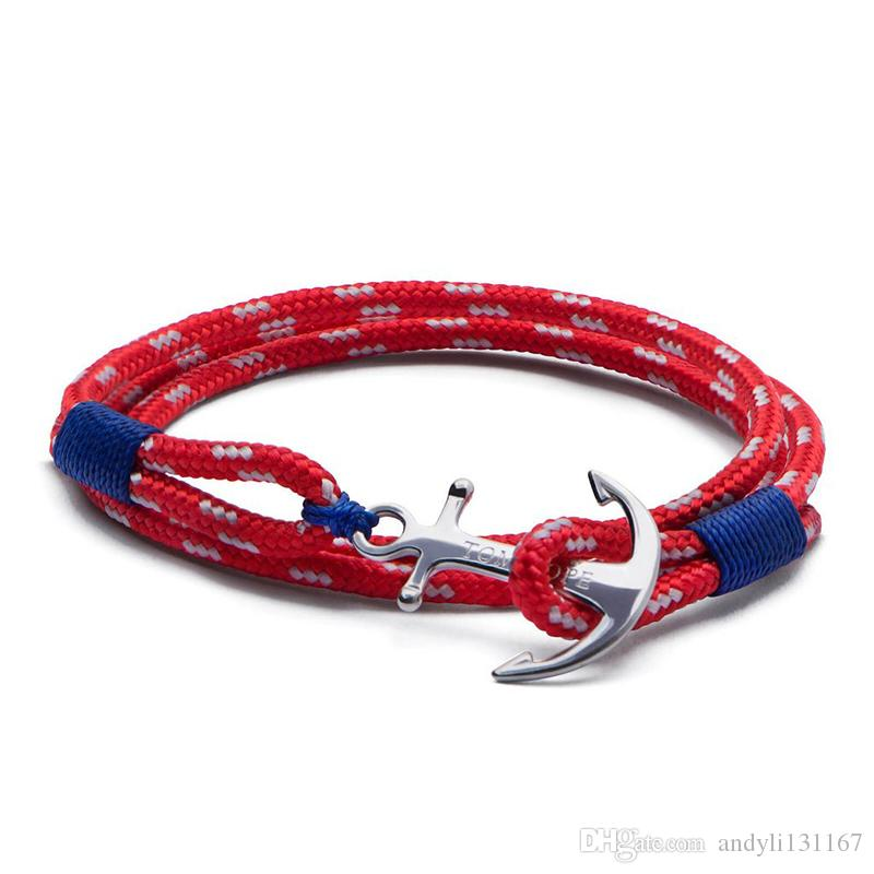 4 size Mediterranean navy stainless steel anchor tom hope bracelet blue thread red Arctic 3 rope bangle bracelet with box TH8
