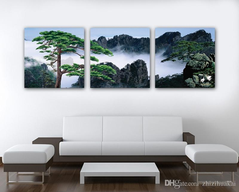Wall decoration no frame art picture Canvas Print mountain tree Bridge wharf palace sea house grassland natural scene