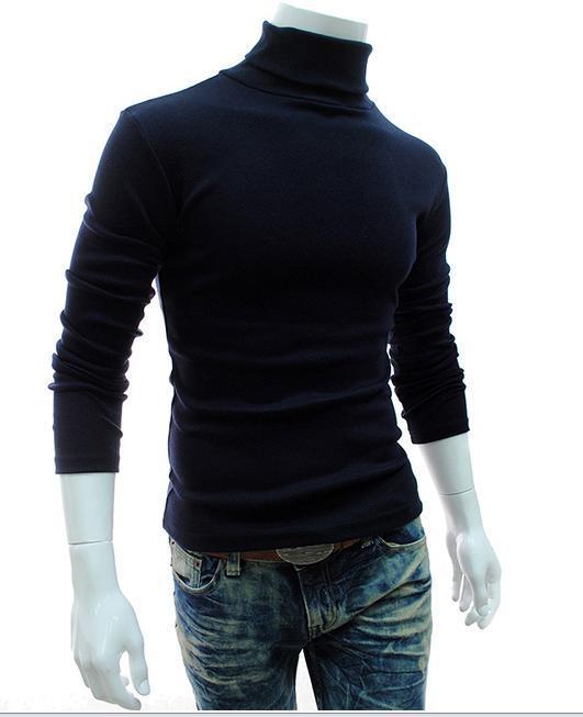 터틀넥 스웨트 남성 단색 롱 슬리브 풀오버 브 런스 남성 프라이머 셔츠 스웨터 무료 배송 한국어 스타일 슬림 맞는 남성용