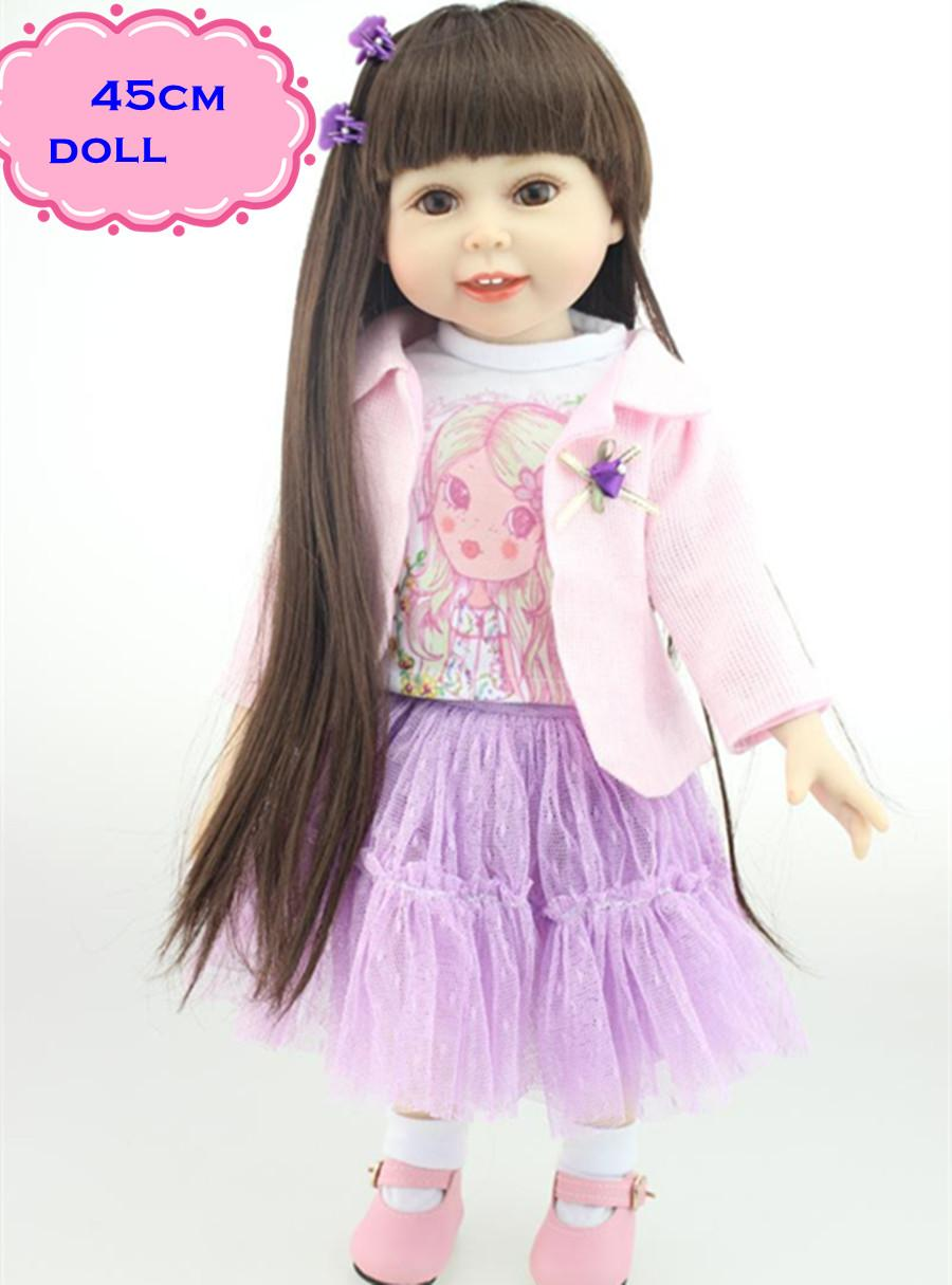 18inch new pretty american girl doll with long straight hair in pink cute real looking full silicone reborn baby dolls for girl clothes for doll clothing - Ameeican Girl Doll