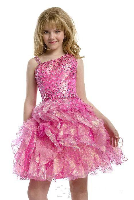 2015 блестки предварительно подростки короткие полноценные бисеры розовые девушки Pageant платья Plific колена длина маленьких детей большие девочки партии платья