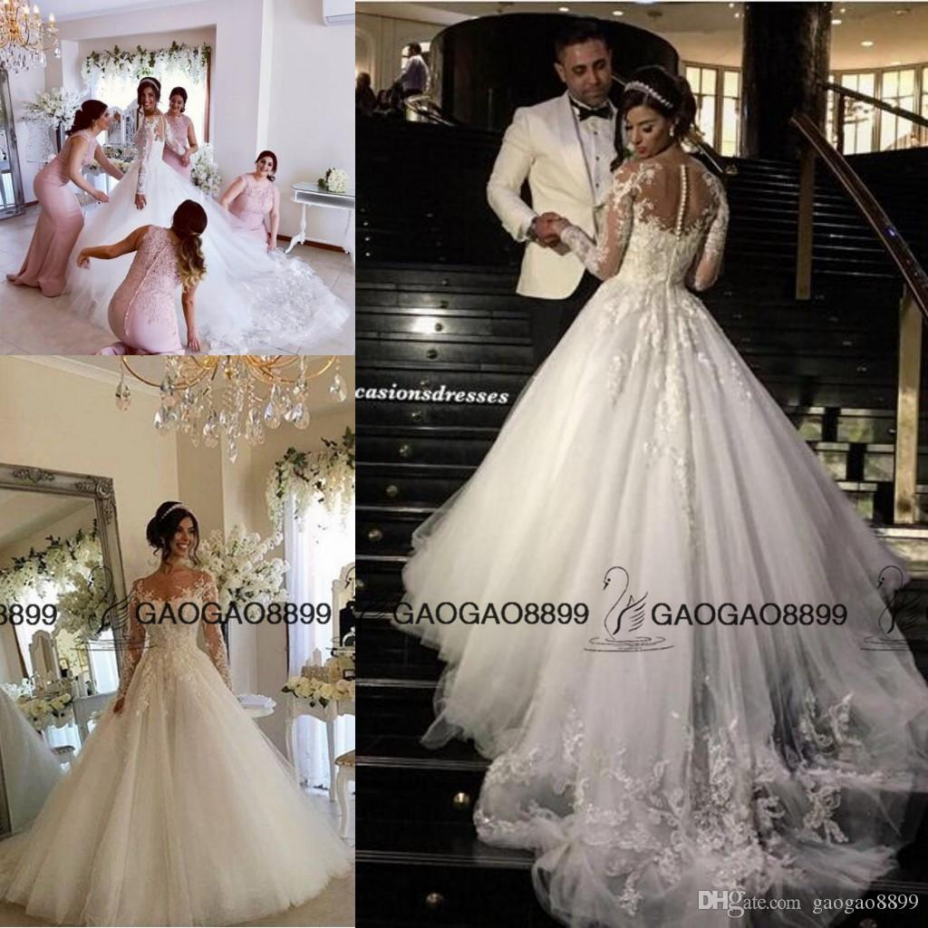 Steven Khalil 2017 Princess Butterfly Long Sleeve Wedding Dresses Sheer  Lace Neck Middle East Arabic Plus Size Garden Wedding Bridal Gowns