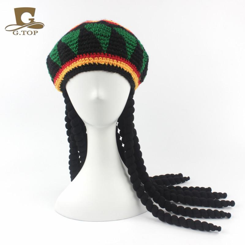 Men Knitted Rasta Hat With Dreadlocks Wig Handmade Jamaican Fancy ...