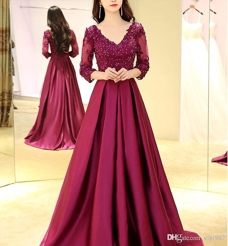 Purple a-line half sleeve Evening dresses 2017 Formal evening Dresses Party Pageant Gowns Celebrity Prom dress real sample plus size