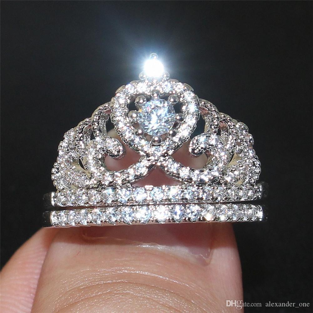 레이디의 925 스털링 실버 고급스러운 크라운 시뮬레이션 다이아몬드 보석 약혼 웨딩 밴드 손가락은 여성 Sz를 5 ~ 10에 대한 설정을 울립니다