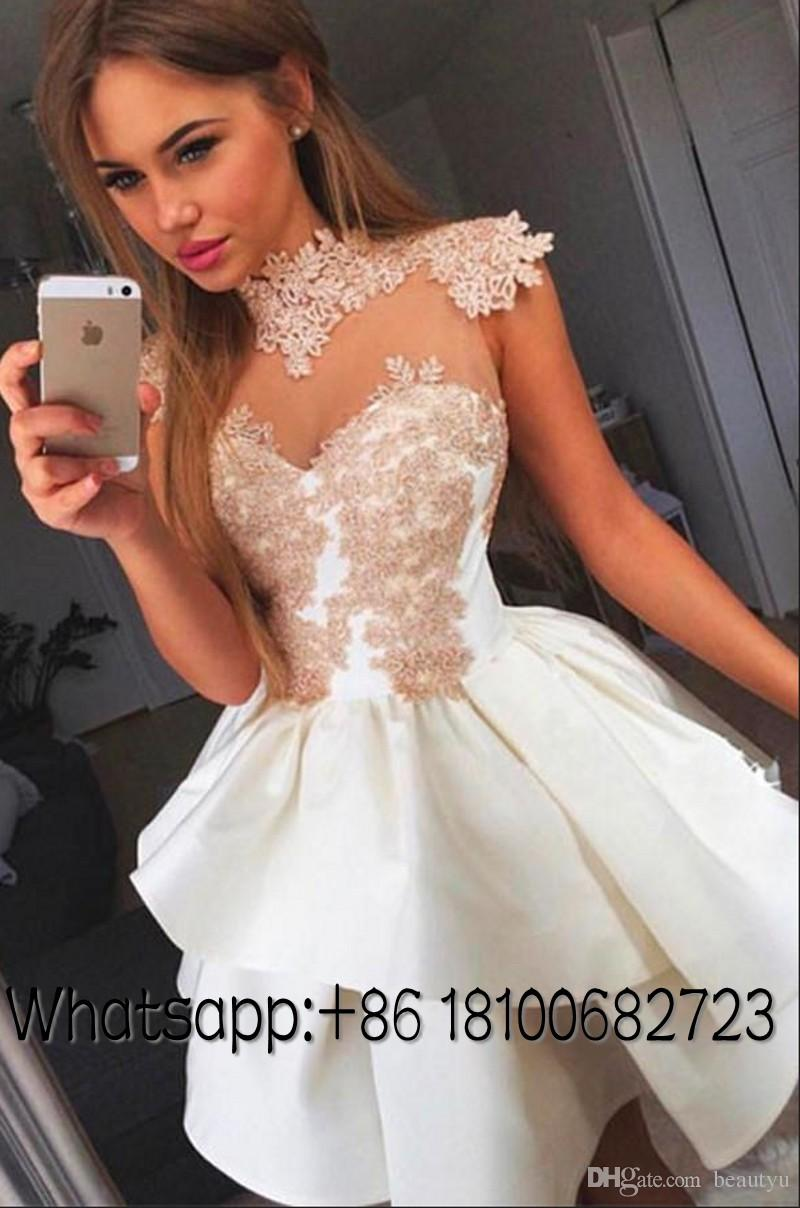Short Party Dresses For Juniors Homecoming 2018 Cheap Tiered Skirt A Line Princess Prom Gown Vintage Lace Appliques Sexy Mini Cocktail Dress