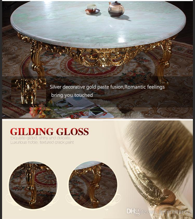 Antique reproduction living room furniture -French classic coffee table with marble top -Italian big round table