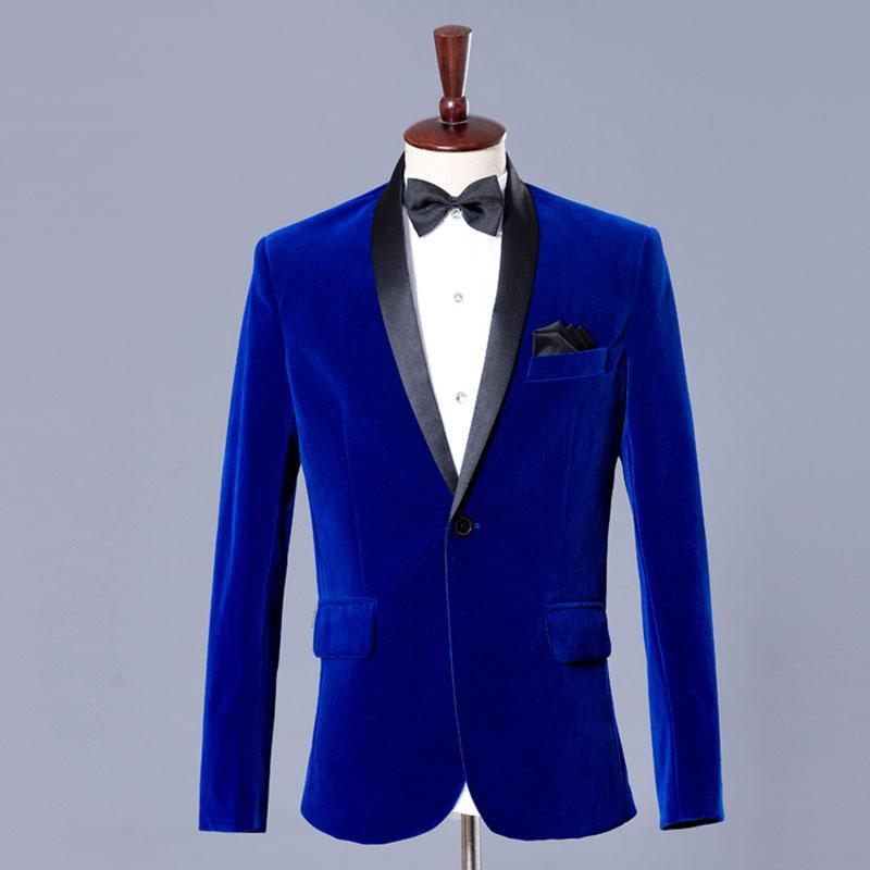 2018 Wholesale Blue Velvet Blazer Men Velvet Suit Jacket Mens Velvet Blazers Men Blazer Designs ...