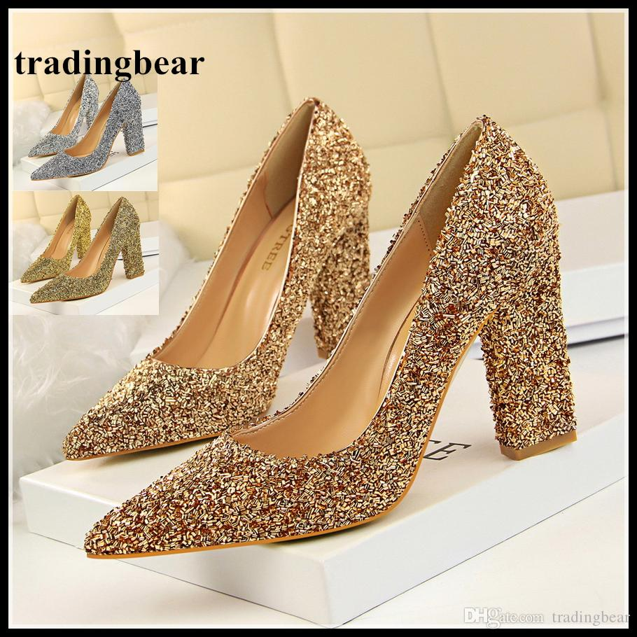 3134c123712 Luxury Designer Shoes Thick High Heel Pointed Toe Pumps Glitter Sequined Wedding  Shoes Silver Gold Prom Gown Dress Shoes Size 34 To 39 Mens Boat Shoes ...