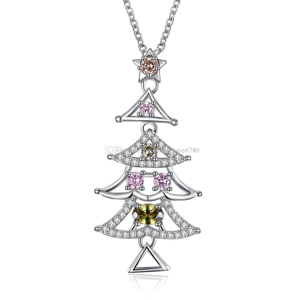 Christmas Series Colorful Cz Zirconia Necklace Two-color Rose Gold Platinum Christmas Tree Jewelry Women Girl Xmas Jewelry Party Gifts